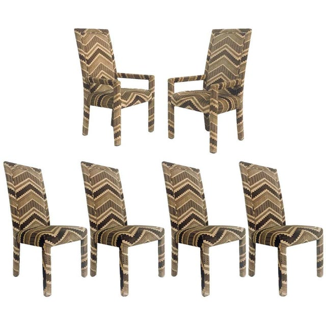 Set of Six 1970s Glam Zig Zag Parsons or Tuxedo Velvet Upholstered Dining Chairs For Sale - Image 11 of 11