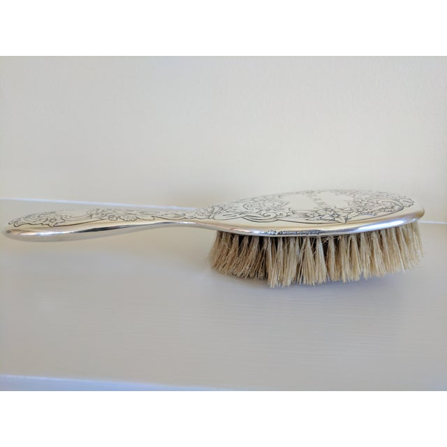 Hollywood Regency Gorham Sterling Silver Monogrammed Hairbrush For Sale - Image 3 of 8