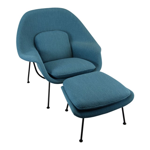 Womb Chair and Ottoman in Cato Blue Knoll Fabric For Sale