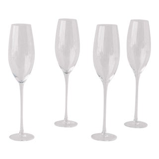 Siren Beverageware Clear Champagne Flute - Set of 4 For Sale
