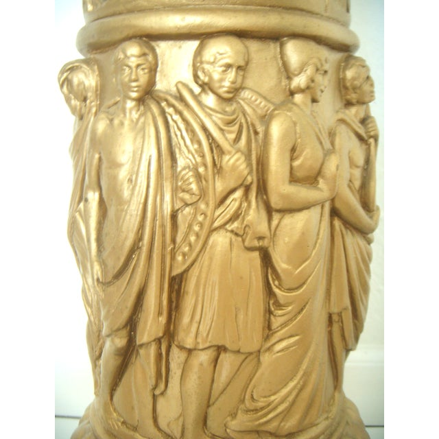 Boho Chic Vintage Plaster Neoclassical Gold Pedestal/Pillar and Urn For Sale - Image 3 of 7