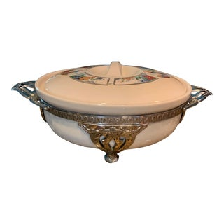 1940s Art Deco Covered Casserole Dish With Ornate Stand - a Pair For Sale