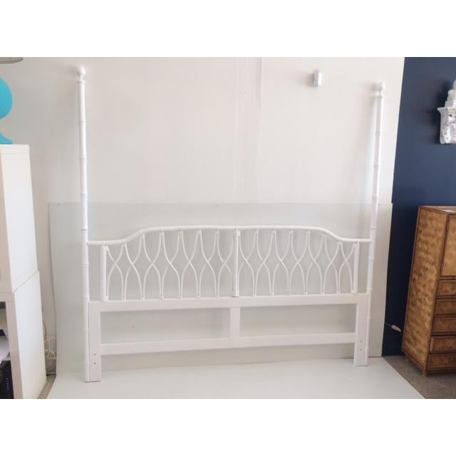 Faux bamboo palm beach regency king size headboard. Made in the 1980s.