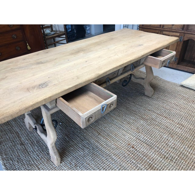 Country Antique English Oak Farm Table with Iron Stretcher and Drawers For Sale - Image 3 of 10