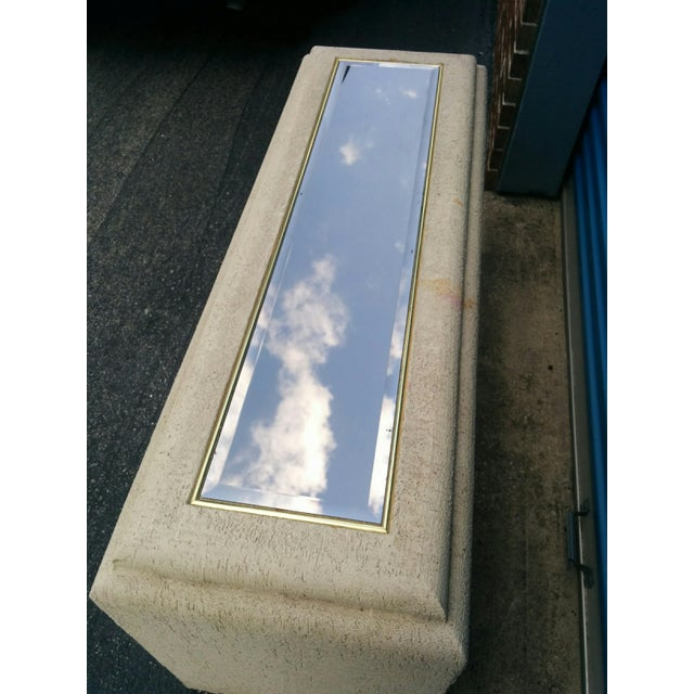 Faux Stone Console Table with Mirrored Top - Image 3 of 11