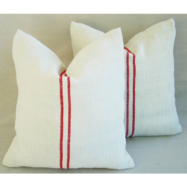 French Red Striped Grain Sack Down/Feather Pillows - Pair - Image 2 of 10
