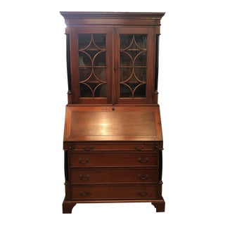 Vintage Mahogany Neo Classical Secretary Desk For Sale