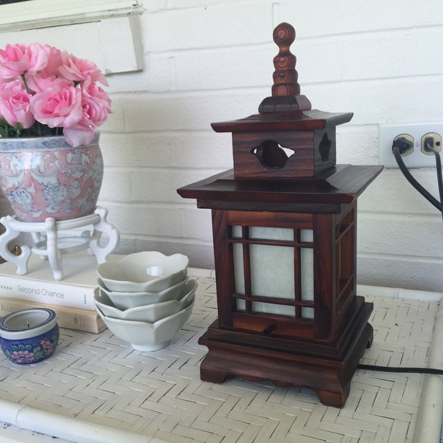 Asian Antique Carved Wood Asian Chinoiserie Pagoda Lantern Light Lamp For Sale - Image 3 of 11