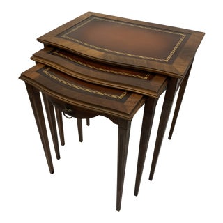 Traditional Mahogany and Leather Nesting Tables - 3 Pieces For Sale