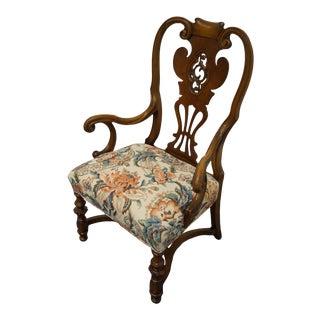 Vintage English Revival Jacobean Walnut Accent Arm Chair For Sale