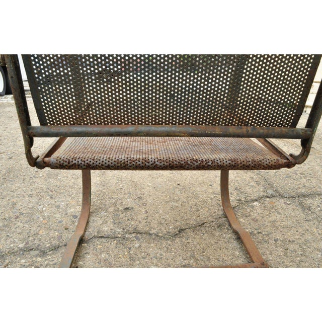 Vintage Steel Metal Mesh His and Hers Patio Bouncer Lounge Chairs - a Pair For Sale - Image 9 of 12