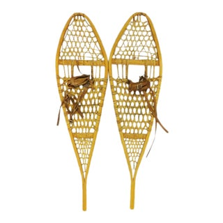 20th Century Vintage Wood and Leather Snowshoes - a Pair For Sale