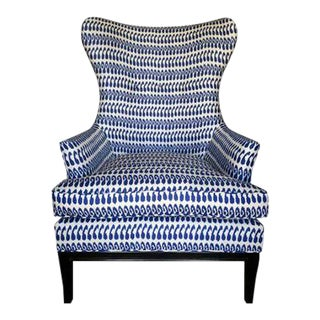 Kim Salmela Indigo Ikat Wingback Chair