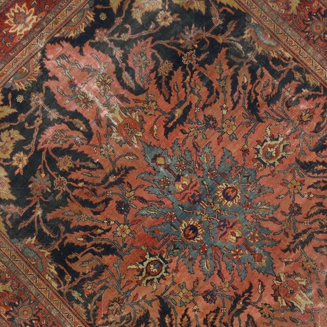 Textile Antique Farahan Rug with Modern Industrial Style, Persian Area Rug For Sale - Image 7 of 8