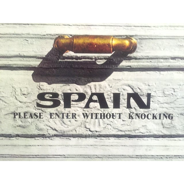 """Vintage Mid Century Rare """" Please Enter Without Knocking """" Collector's Spain Travel Poster For Sale - Image 10 of 13"""
