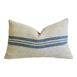 "French Blue-Gray Striped Grain Sack Textile Feather/Down Pillow 24"" X 16"" For Sale"