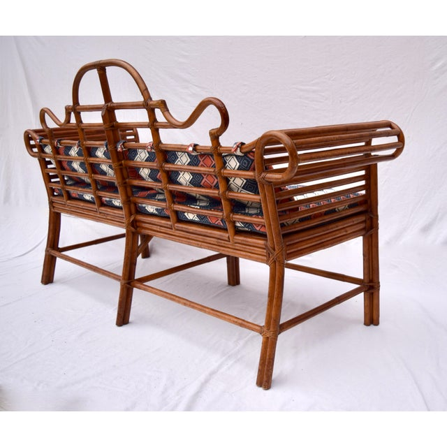1980s Lane Furniture Bamboo Caned Rattan Chinoiserie Sofa For Sale - Image 5 of 13