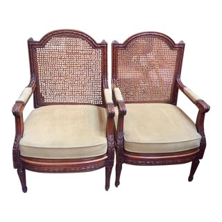 Vintage French Walnut Cane Back Olive Green Arm Chairs - A Pair For Sale