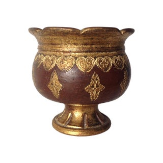Italian Florentine Terracotta Urn, Center Planter For Sale