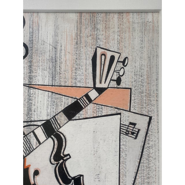 Black Mid-Century Modern Cubist Pastels Painting of Guitar For Sale - Image 8 of 13