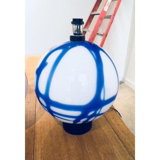 Murano Pair of Blue and Milk Glass Murano Table Lamps For Sale - Image 4 of 7