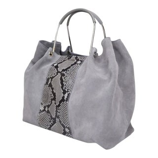 Like New Modern Bruno Magli Large Grey Tote With Python Detail and Metal Handles For Sale