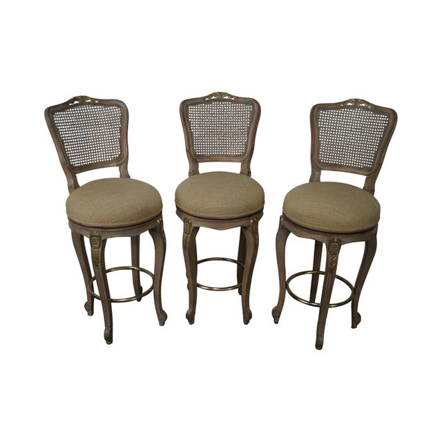 French Louis XV Style Swivel Bar Stools - Set of 3 For Sale