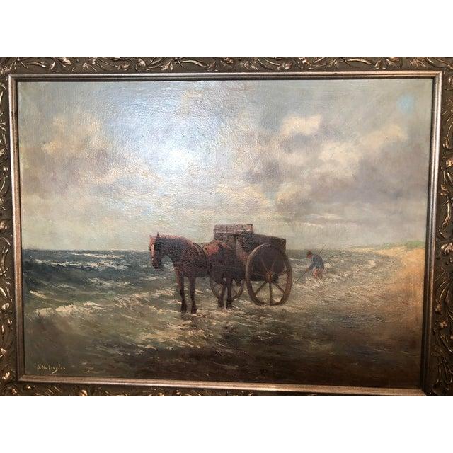 1900 - 1909 Henriette Hubregtse-Lanzing Antique Dutch Oil Painting, Horse & Fisherman For Sale - Image 5 of 10