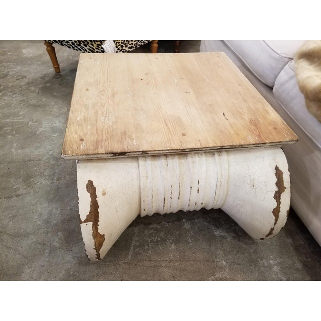 Shabby Chic Restoration Hardware Distressed Ionic Capital Coffee Table For Sale - Image 3 of 7