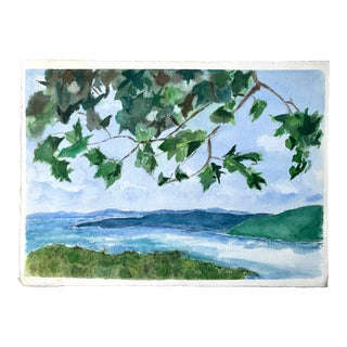 Lake and Leaves Watercolor Painting For Sale
