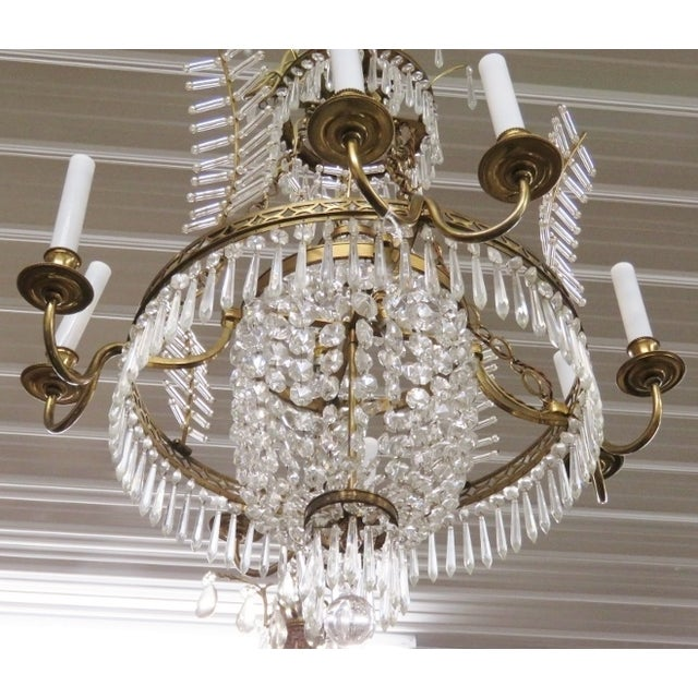Russian Baltic Style Bronze & Crystal Chandelier - Image 2 of 3