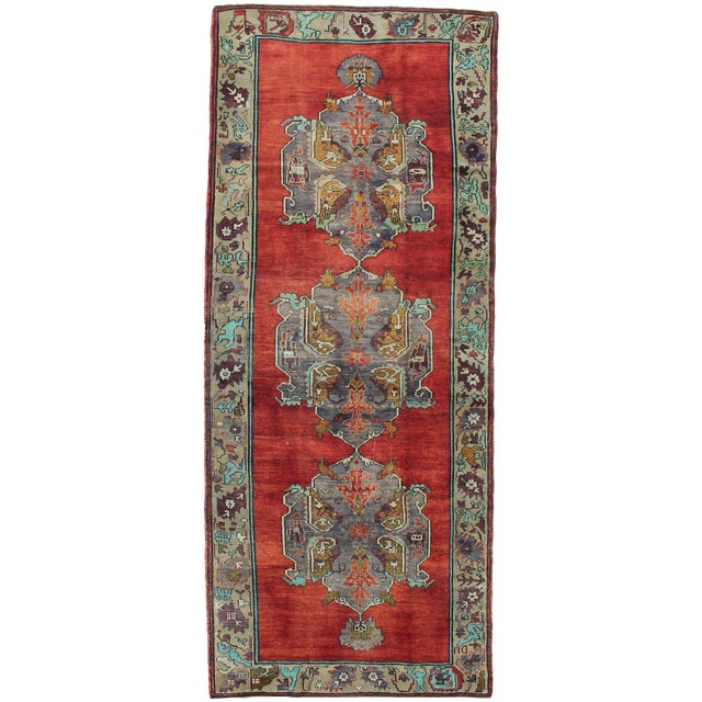 1980s Handmade Turkish Konya Rug - 5′1″ × 12′3″ For Sale