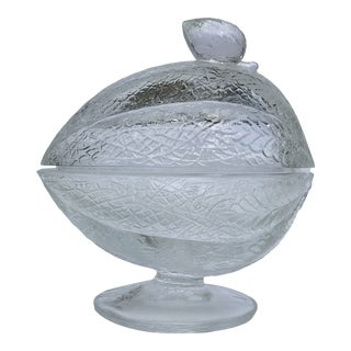 Late 20th Century L. E. Smith Glass Melon Shaped Candy Dish For Sale