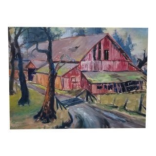 1930's California Painting of a Barn For Sale