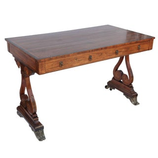 Late 19th Century Antique English Rosewood Regency Desk For Sale
