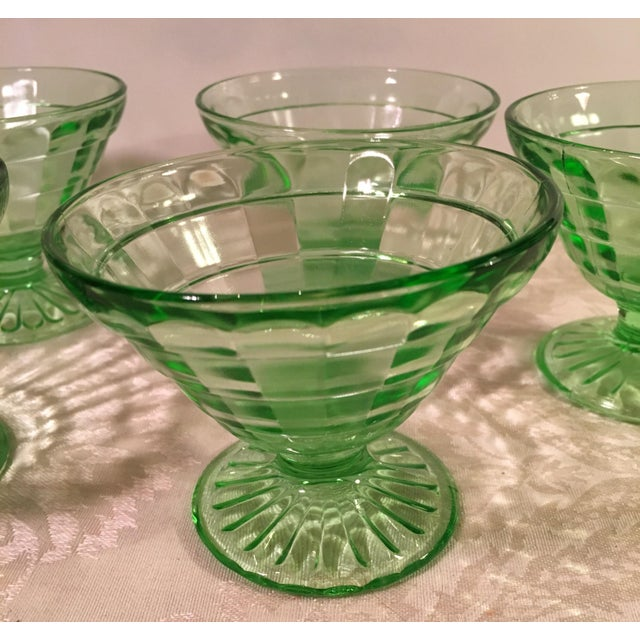 Mid-Century Modern Green Uranium Glass Footed Sherbets - Set of 6 For Sale In Dallas - Image 6 of 9
