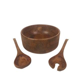 Kalmar Designs Danish Salad Bowl and Serving Spoons - 3 Piece Set For Sale