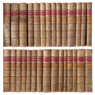19th Century English Tree Marbled Calf Leather Bound Books - Set of 29