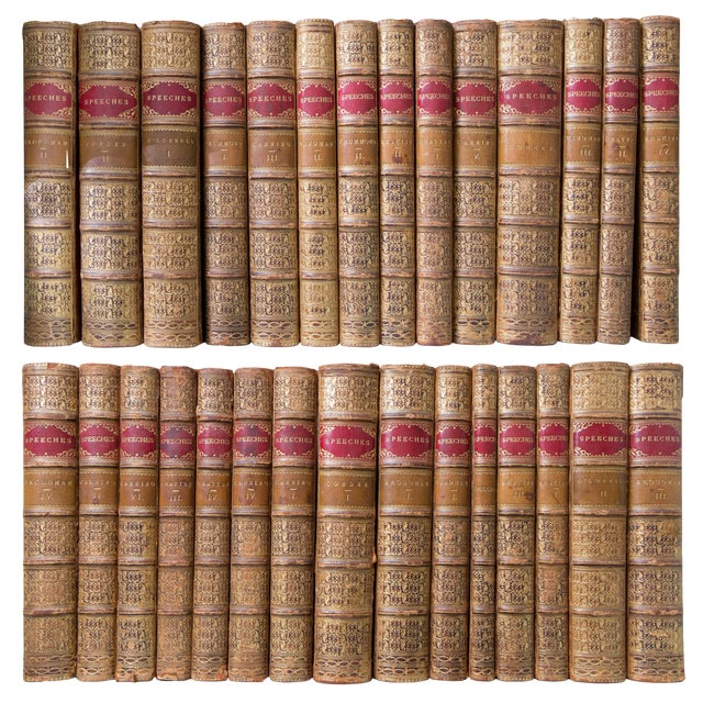 19th Century English Tree Marbled Calf Leather Bound Books - Set of 29 For Sale