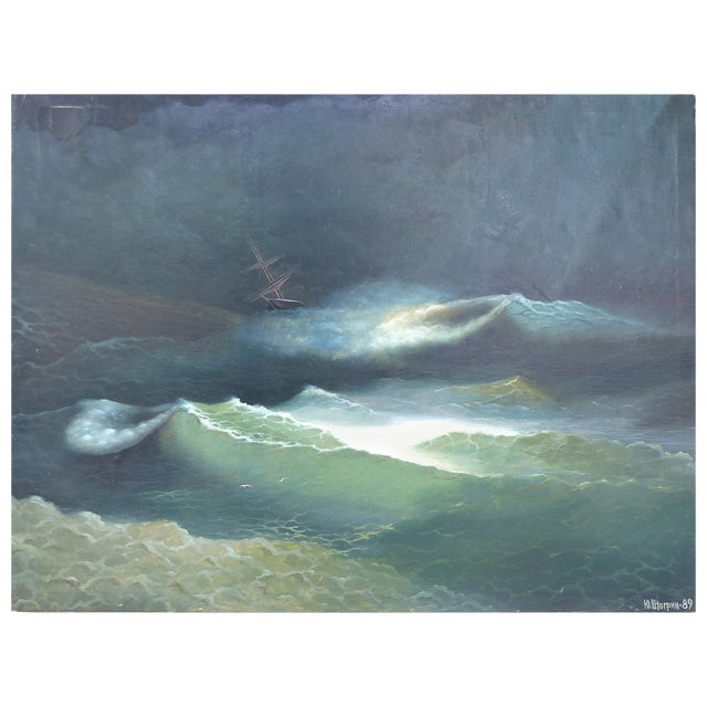 Russian 19th Century Seascape Oil Painting on Canvas Signed and Dated 1889 For Sale