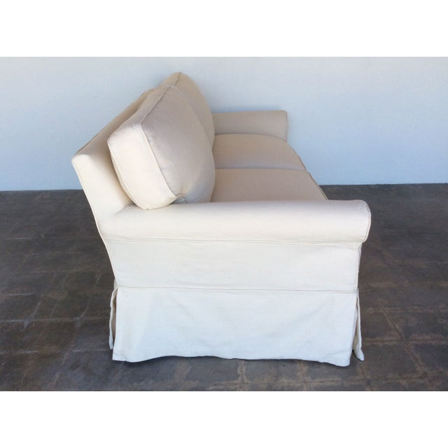 Slipcovered Roll Arm Sofa in Belgian Linen - Image 4 of 8
