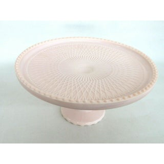 Jeannette Shell Pink Milk Glass Beaded Edge Pedestal Cake Plate Stand Preview