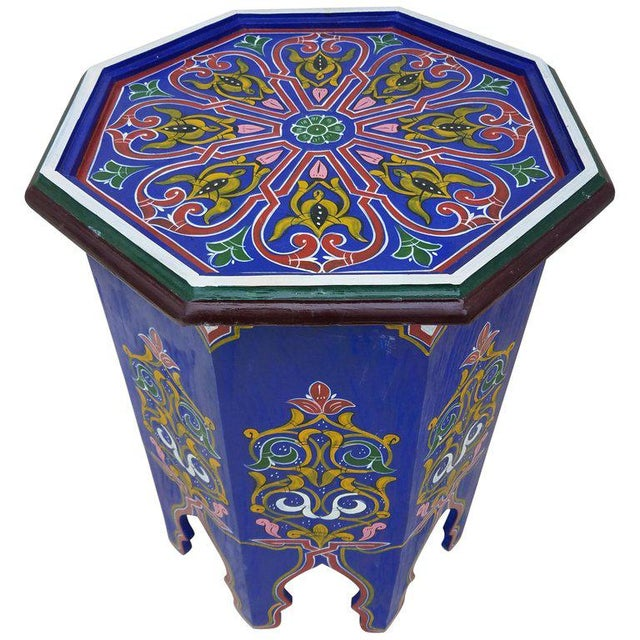 Paint Moroccan Hexagonal Blue Wooden End Table For Sale - Image 7 of 7