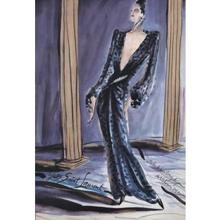 Matted Vintage French Fashion Design Print-Yves Saint-Laurent Ysl For Sale