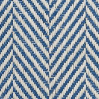 Schumacher Classic Herringbone Indoor/Outdoor Fabric in Navy For Sale