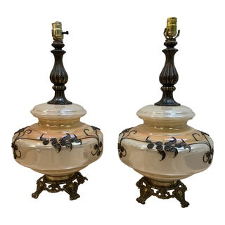 1960s Baroque Carnival Glass Lamps - a Pair For Sale