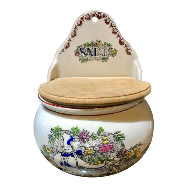 Vintage Ceramic French Salt Box For Sale