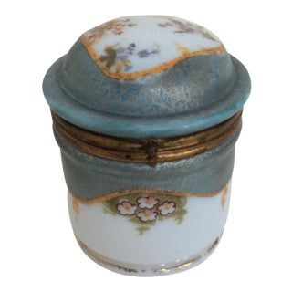 Art Nouveau Painted Glass Lidded Jar, Circa 1900 For Sale