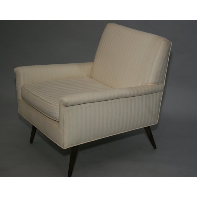 Mid-Century Modern Ivory Stripe Lounge Chair - Image 7 of 8