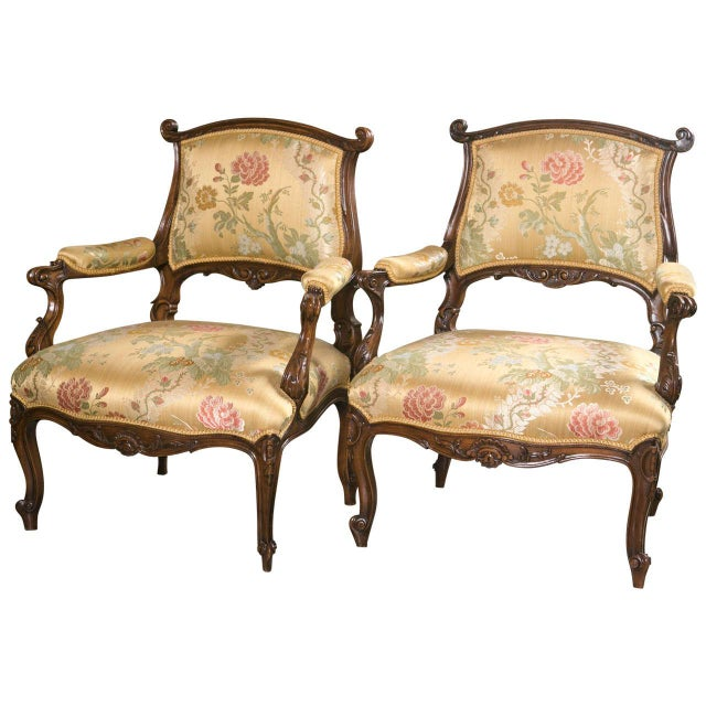 French Rococo Louis XV Style Armchairs - A Pair - Image 1 of 9